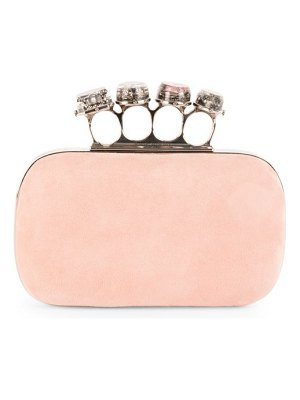 Alexander McQueen four-ring suede knuckle clutch