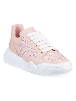Alexander McQueen Perforated Calfskin Trainer Sneakers