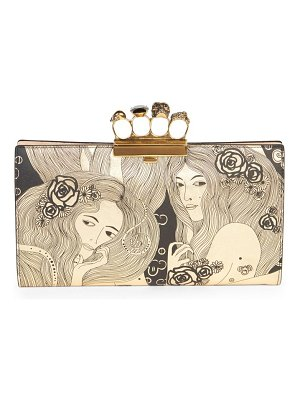 Alexander McQueen four-ring printed leather clutch