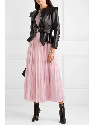 Alexander McQueen ribbed-knit and chiffon midi dress