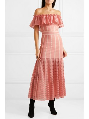 Alexander McQueen ruffled off-the-shoulder mesh-paneled knitted dress