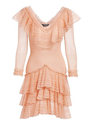Alexander McQueen ruffled silk knit mini dress