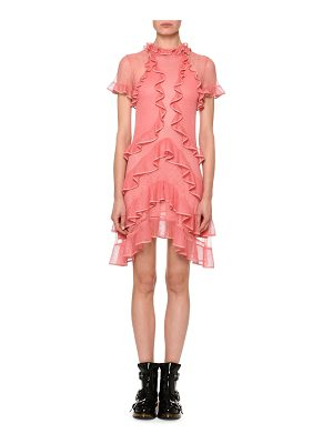 Alexander McQueen Short-Sleeve Fluid Ruffle On Lace Sheer Mini Dress