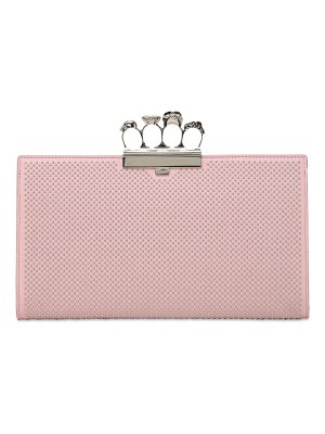 Alexander McQueen Skull four ring flat leather clutch