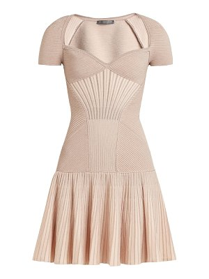 Alexander McQueen sweetheart neck short sleeved wool blend dress
