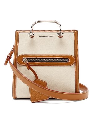 Alexander McQueen the short story canvas and leather cross-body bag