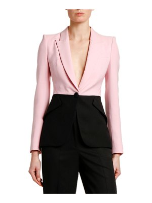 Alexander McQueen Two-Tone Light Wool-Silk Jacket
