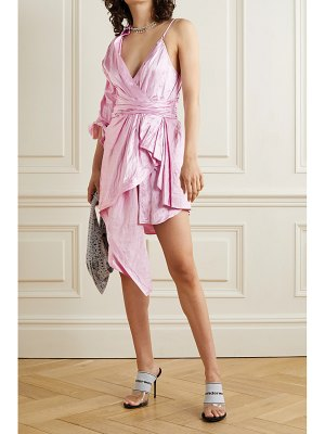 Alexander Wang asymmetric layered gathered crinkled-satin dress