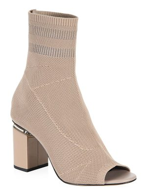 ALEXANDER WANG Cat Mid Heel Peep Toe Sock Booties