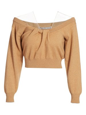 Alexander Wang cropped off-the-shoulder wool-blend sweater