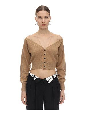 Alexander Wang Cropped wool blend knit cardigan