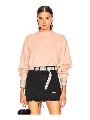 Alexander Wang Crystal Cuff Crew Neck Sweater