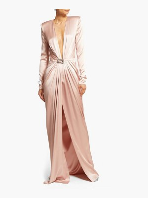 Alexandre Vauthier crystal buckle silk blend gown