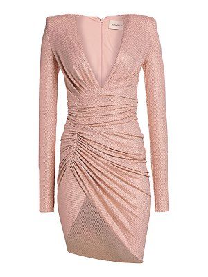 Alexandre Vauthier ruched deep v-neck micro crystal bodycon dress