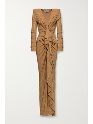 Alexandre Vauthier ruched draped crystal-embellished stretch-jersey gown