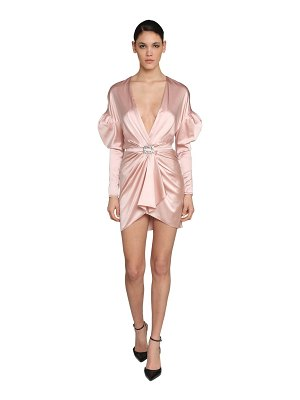 Alexandre Vauthier V neck stretch satin mini dress