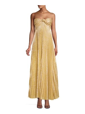 Alexis joya strapless sweetheart lamé pleated a-line dress