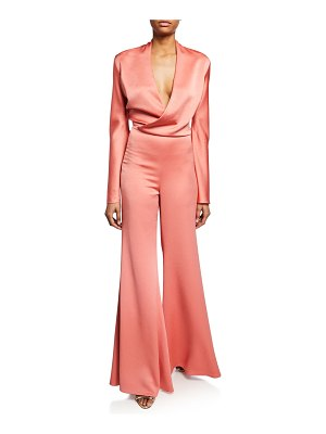 Alexis Raine Flared Satin Jumpsuit