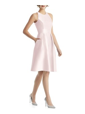 Alfred Sung high neck satin cocktail dress