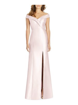 Alfred Sung portrait collar satin gown
