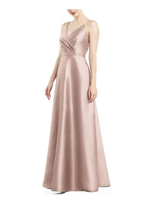 Alfred Sung satin twill a-line gown