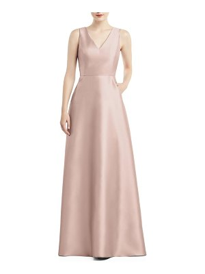 Alfred Sung v-neck satin a-line gown