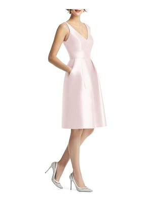 Alfred Sung v-neck satin cocktail dress
