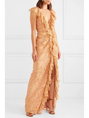 Alice McCall notion ruffled metallic chantilly lace gown