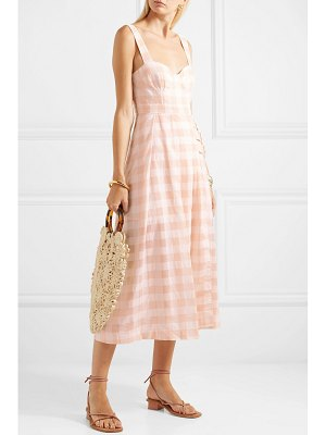 Alice McCall pink moon buckled gingham cotton-blend midi dress