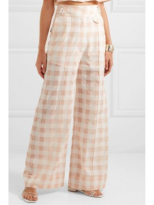 Alice McCall pink moon gingham cotton-blend wide-leg pants