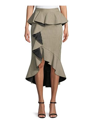 ALICE + OLIVIA Alessandra Ruffled Peplum Striped Pencil Skirt
