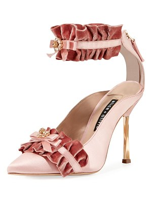 Alice + Olivia Alfray Satin Ruffled Ankle-Strap Pump