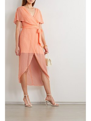 Alice + Olivia alice olivia - darva belted wrap-effect swiss-dot silk and cotton-blend midi dress