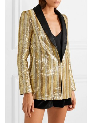Alice + Olivia alice olivia - jace oversized satin-trimmed sequined cotton blazer