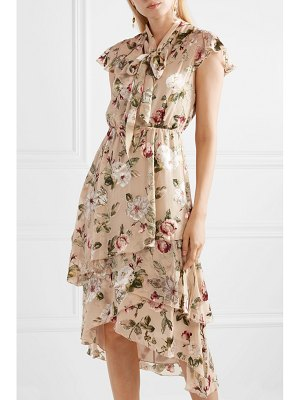 Alice + Olivia alice olivia - lavenia asymmetric tiered devoré-chiffon dress