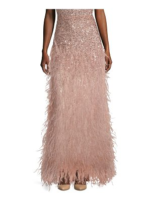 Alice + Olivia ashton sequin & feather maxi skirt