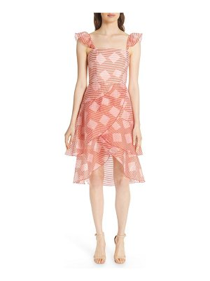Alice + Olivia azura waterfall ruffle midi dress
