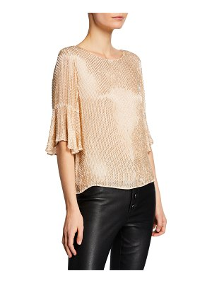Alice + Olivia Bernice Embellished Ruffle-Sleeve Top