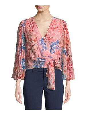 ALICE + OLIVIA Bray Pleated-Sleeve Floral-Print Silk Wrap Blouse