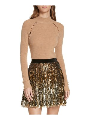 Alice + Olivia button cutout wool sweater