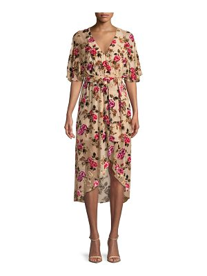 Alice + Olivia Clarine Floral-Burnout Wrap Dress with Oversize Sleeves