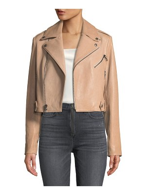 Alice + Olivia Cody Crop Lamb Leather Moto Jacket