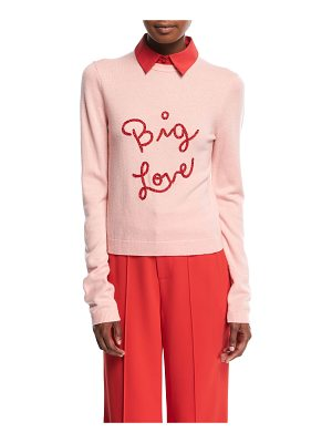 ALICE + OLIVIA Dia Big Love Collared Stretch-Cashmere Sweater