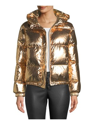 Alice + Olivia Durham Hooded Metallic Puffer Jacket