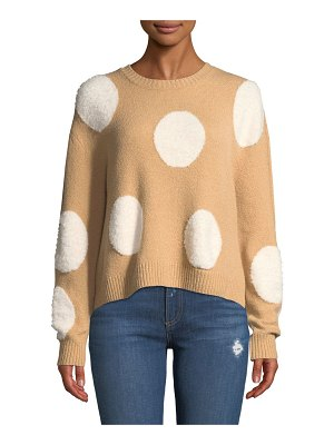 Alice + Olivia Gleeson Polka-Dot Boxy Long-Sleeve Pullover Sweater