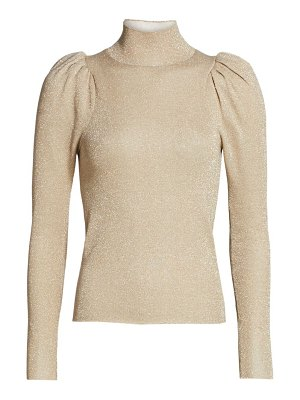 Alice + Olivia issa glitter puff-sleeve turtleneck sweater