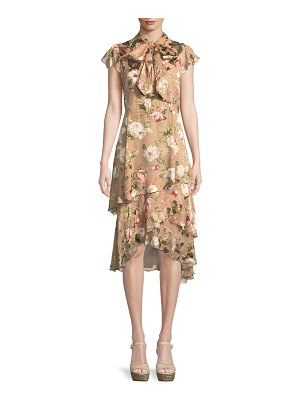 Alice + Olivia Lavenia Tiered Floral Midi Dress