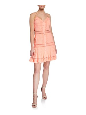 Alice + Olivia Marci Embroidered Pintuck Button-Down Dress