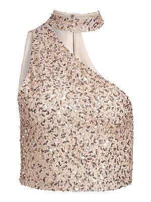 Alice + Olivia porter sequined one-shoulder top