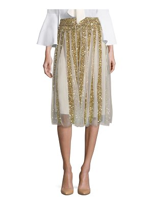 Alice + Olivia samira embroidered midi skirt